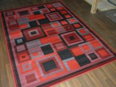 Modern Approx 8x5ft 160cmx230cm Woven Backed Squares Quality Rug Red/Black/Grey